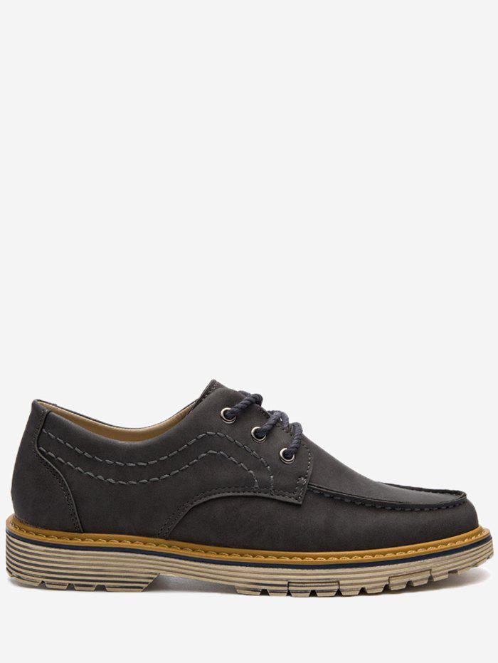 Low Heel Stitching Casual Shoes - GRAY 43