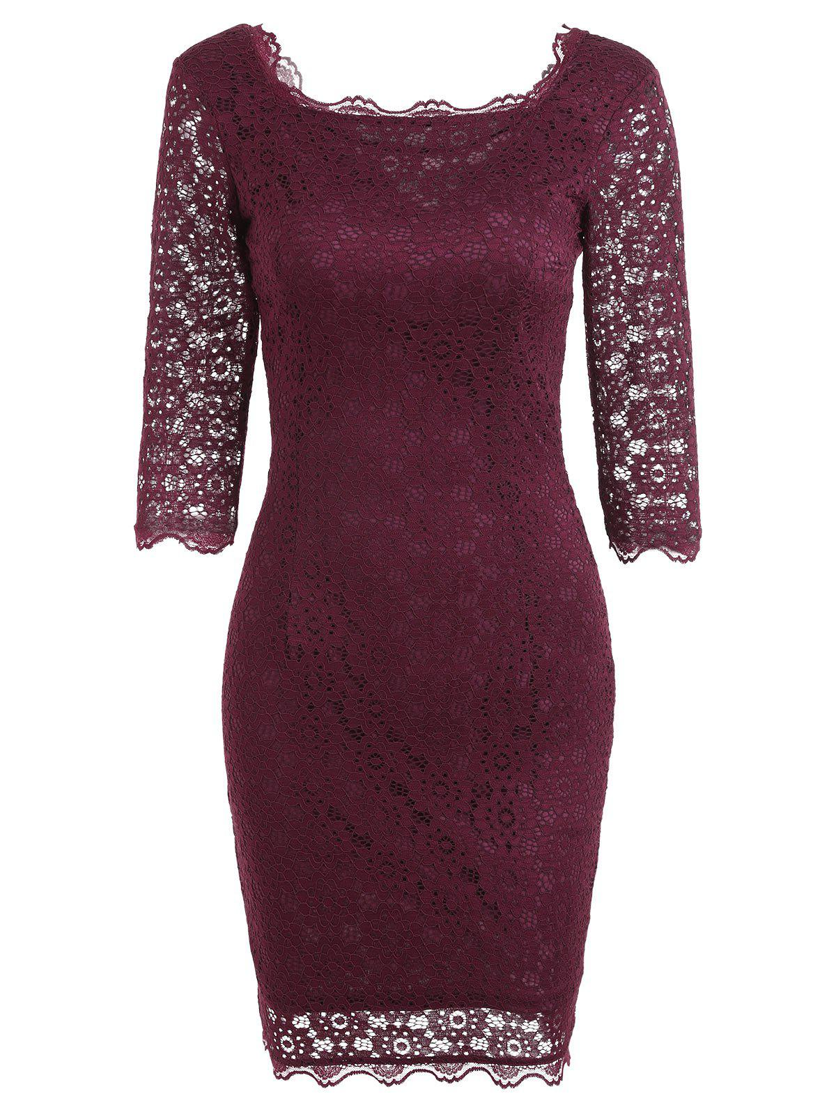 Cut Out Lace Bodycon Party Dress - Rouge vineux M
