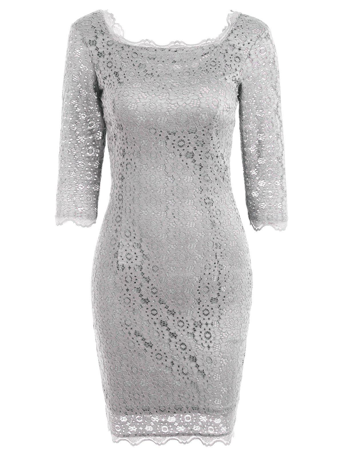 Cut Out Lace Bodycon Party Dress - LIGHT GRAY XL