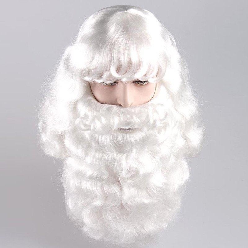 Long Side Bang Fluffy Curly Cosplay Santa Claus Wig With Beard middle part long curly christmas santa claus wig with beard