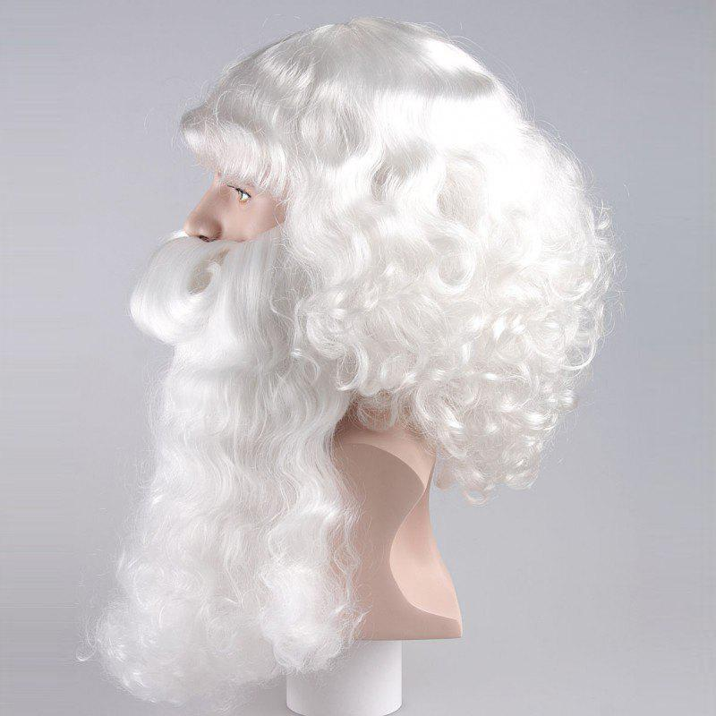 Long Side Bang Fluffy Curly Cosplay Santa Claus Wig With Beard - WHITE