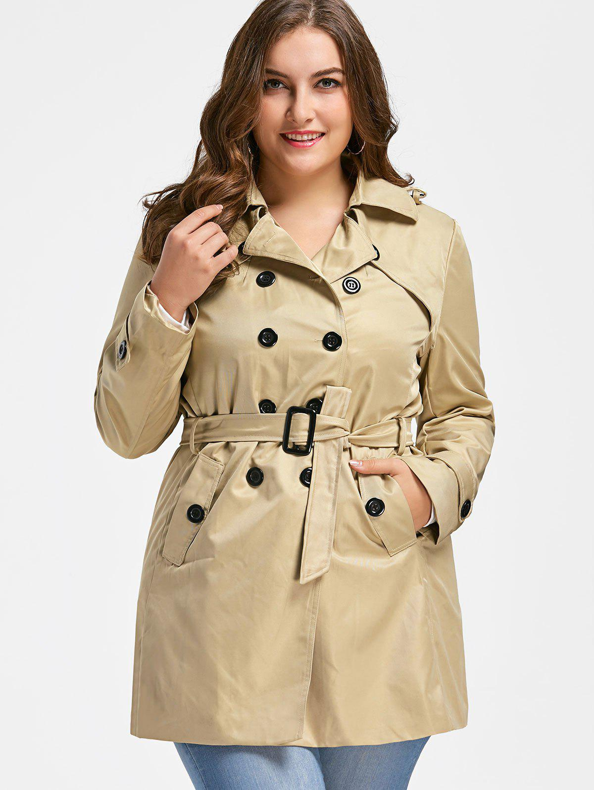 Manteau Double Breasted Plus Size - [/quot;\ u \ u e \ u a \ u d \ u e/quot;] 2XL