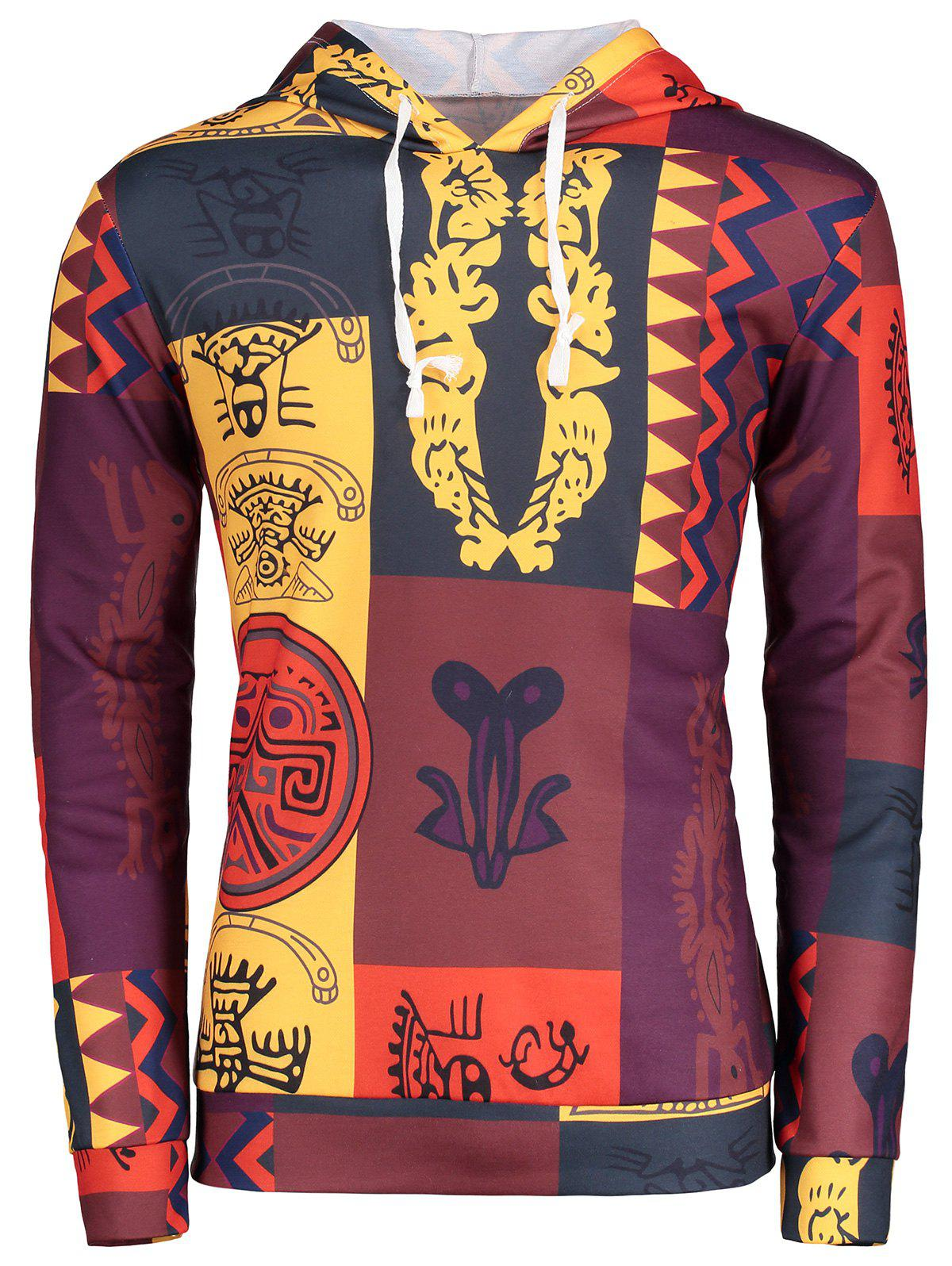 Ethnic Totem Printed Pattern Pullover Hoodie - COLORMIX XL