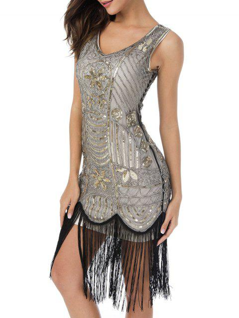 Sequin Fringed Midi Bodycon Party Dress - GOLD/WHITE 2XL
