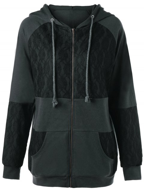Lace Insert Plus Size Zip Up Hooded Coat - DEEP GRAY XL