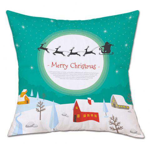 Christmas Moon Village Print Linen Sofa Pillowcase - COLORMIX W18 INCH * L18 INCH