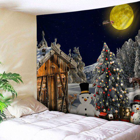 Christmas Forest House Print Tapestry Wall Hanging Art - COLORMIX W59 INCH * L59 INCH