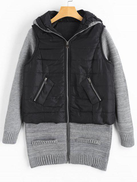 Knit Panel Padded Hooded Longline Coat - COLORMIX M