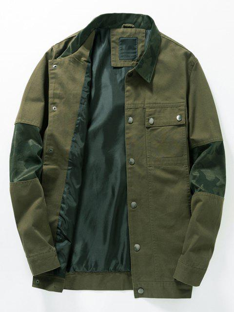 25bd2c623282a 41% OFF] 2019 Camouflage Panel Button Up Fatigue Jacket In ARMY ...