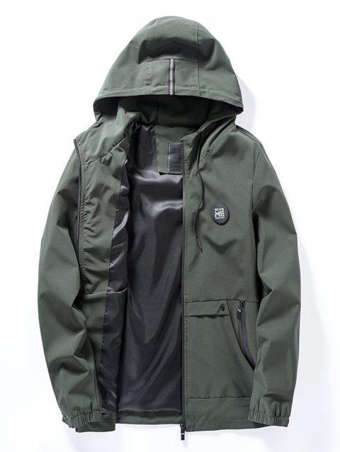 Braid Embellished Hooded Applique Zip Up Jacket - ARMY GREEN L