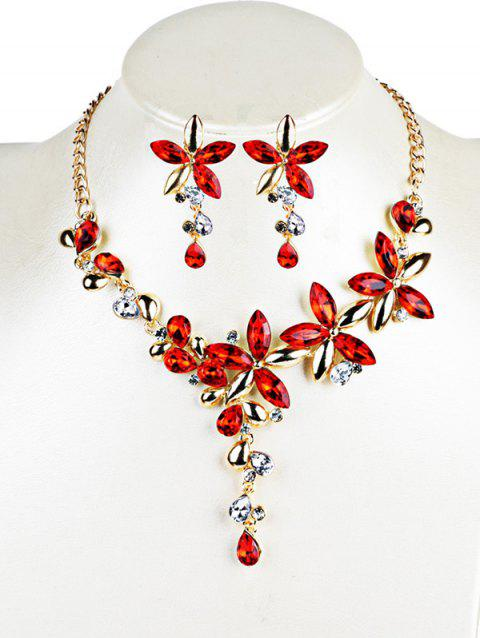 Vintage Crystal Floral Embellished Necklace Earrings Jewelry Set - RED