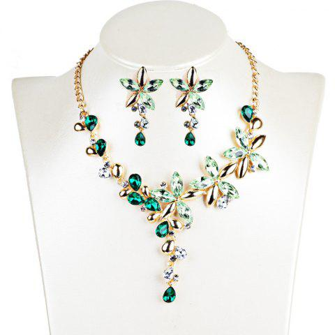 Vintage Crystal Floral Embellished Necklace Earrings Jewelry Set - GREEN