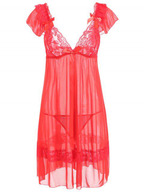 Plunge Neck Mesh Sheer Babydoll - RED ONE SIZE