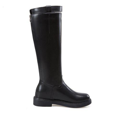 Back Zip Faux Leather Buckled Mid-calf Boots - BLACK 36