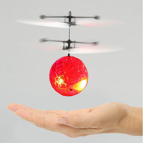 Creative Infrared Induction Colorful LED Flash Flying Ball - RED
