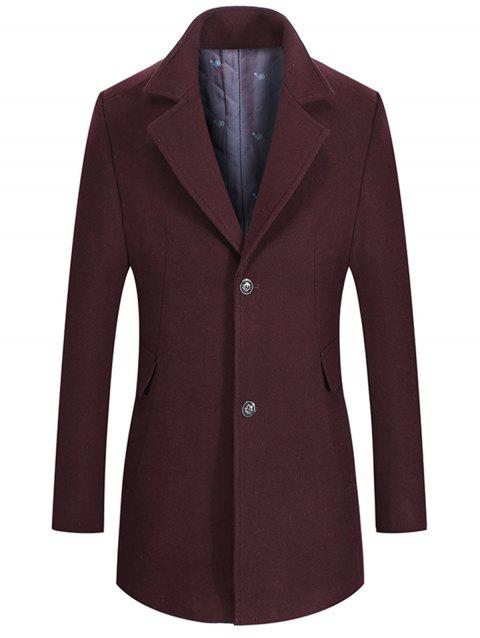 Flap Pocket Notch Lapel Wool Blend Coat - WINE RED 2XL