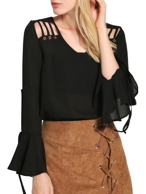 Bell Sleeve Cut Out Chiffon Blouse - BLACK L