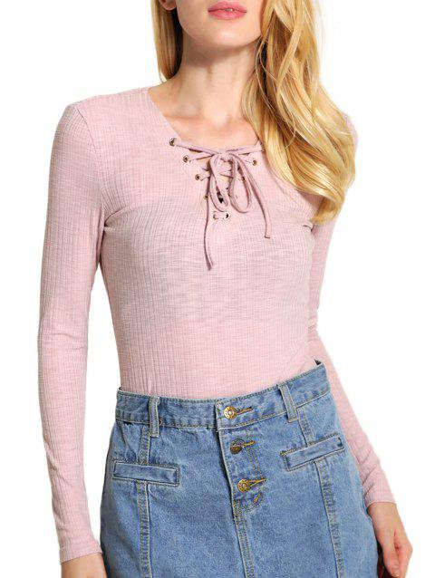 Long Sleeve V Neck Lace Up Sweater - PINK M