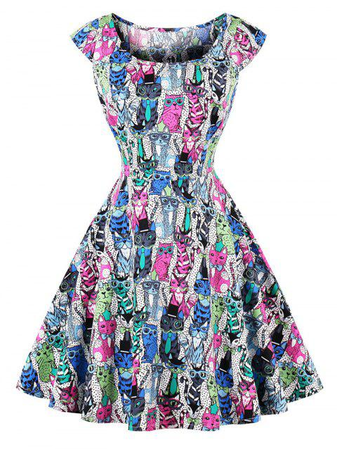 Vintage Owl Print Pin Up Skater Dress - COLORMIX XL