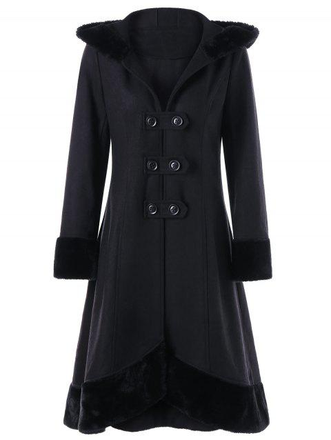Faux Fur Hem Hooded Lace Up Dress Coat - BLACK 2XL