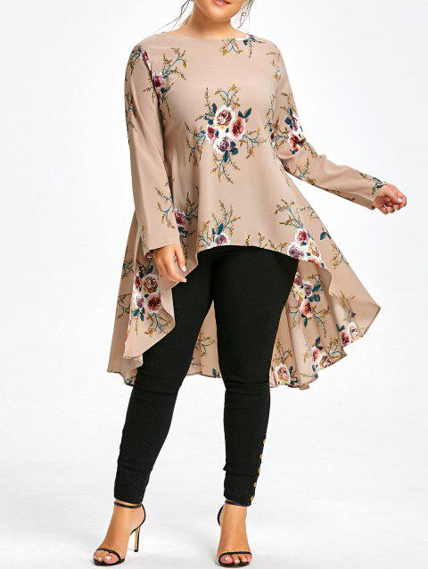 f5db0d65d33 LIMITED OFFER  2019 Plus Size Floral Printed Chiffon Long High Low ...