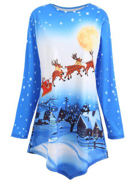 Plus Size Long Christmas Tunic Top - BLUE XL