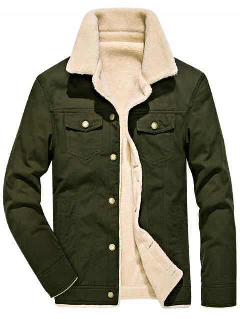 Single Breasted Faux Shearling Denim Jacket - ARMY GREEN 4XL