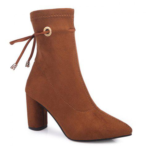 Chunky Heel Tie Up Suede Ankle Boots - YELLOW 35