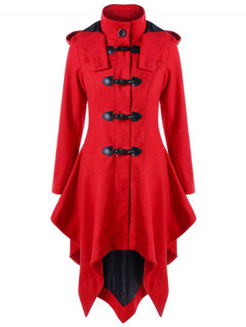 Christmas Horn Button Hooded Handkerchief Coat - RED M