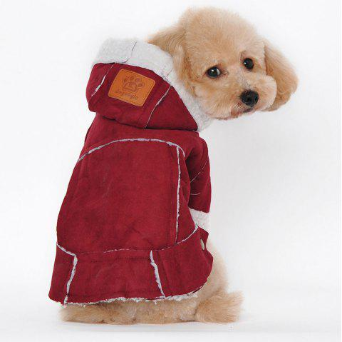 British Style Berber Fleece Suedette Hooded Clothes for Dog - WINE RED M
