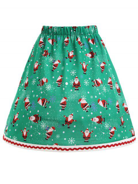 Christmas Santa Claus Snowflake Plus Size Skirt - GREEN 2XL