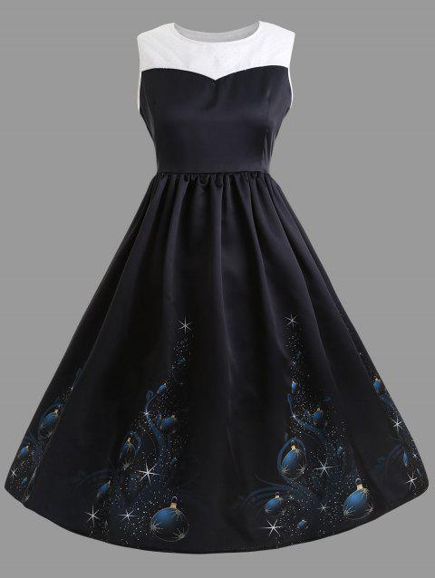 Plus Size Midi Vintage Christmas Gown Dress - BLACK 5XL