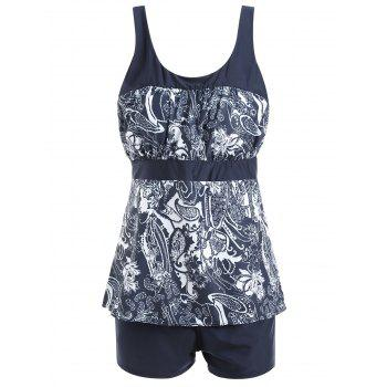 Floral Print Padded Plus Size Tankini Set - PURPLISH BLUE PURPLISH BLUE