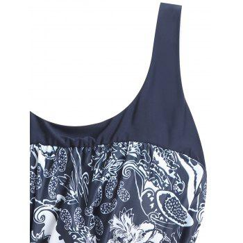 Floral Print Padded Plus Size Tankini Set - PURPLISH BLUE 2XL