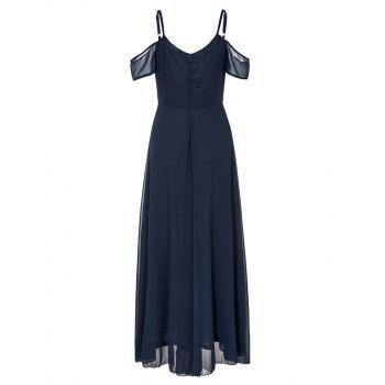 Open Shoulder Cami Strap Chiffon Maxi Dress - PURPLISH BLUE L