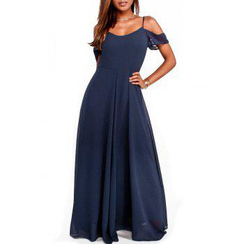Open Shoulder Cami Strap Chiffon Maxi Dress - PURPLISH BLUE XL