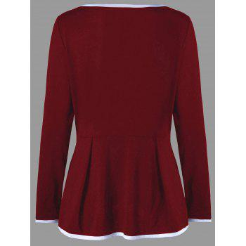 Plus Size Criss Cross Peplum Top - WINE RED 2XL