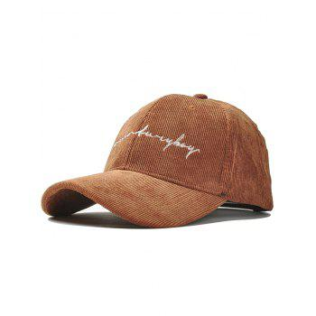 Outdoor Letter Pattern Embroidery Corduroy Baseball Cap - CAMEL CAMEL