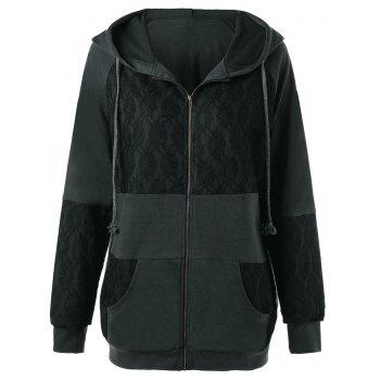 Lace Insert Plus Size Zip Up Hooded Coat - DEEP GRAY 3XL