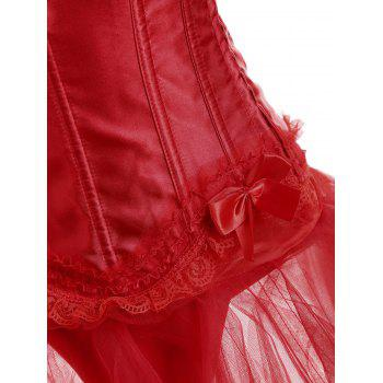 Bowknot Steel Boned Gothic Overbust Corset Costume - RED RED