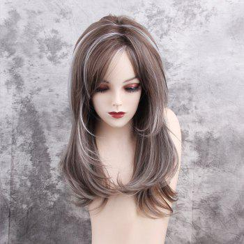 Long Side Bang Highlight Layered Straight Synthetic Wig - COLORMIX COLORMIX