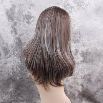 Long Side Bang Highlight Layered Straight Synthetic Wig - COLORMIX