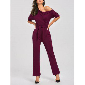 Convertible Collar Belted Jumpsuit - WINE RED WINE RED