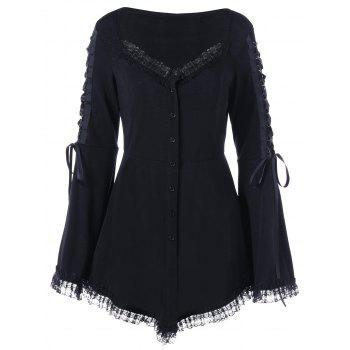 Lace Up Flare Sleeve Gothic Top - BLACK BLACK