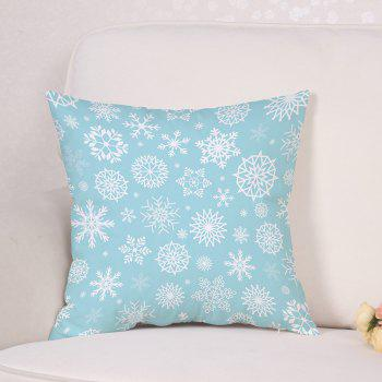 Snowflake Print Christmas Linen Sofa Pillowcase - LIGHT BLUE W18 INCH * L18 INCH