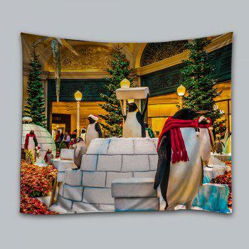 Christmas Tree Penguins Print Tapestry Wall Hanging Art - COLORMIX COLORMIX
