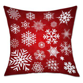 Snowflakes Christmas Print Linen Sofa Pillowcase - RED RED