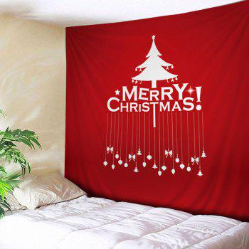 Merry Christmas Tree Print Tapestry Wall Hanging Art - RED RED