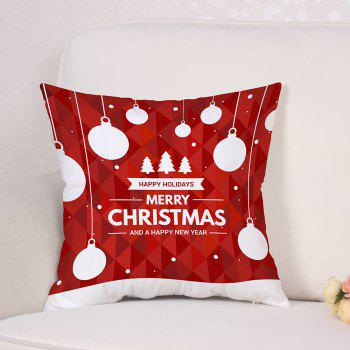 Baubles Christmas Tree Print Linen Sofa Pillowcase - RED W18 INCH * L18 INCH