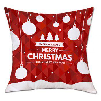 Baubles Christmas Tree Print Linen Sofa Pillowcase - RED RED